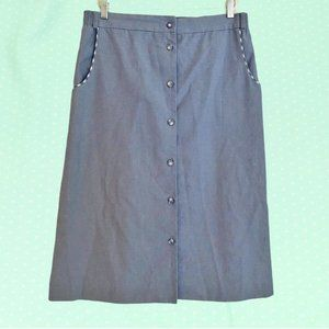Vintage chambray button down skirt with gingham